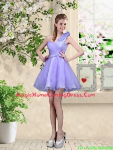 Elegant A Line Hand Made Flowers Homecoming Dresses with One Shoulder