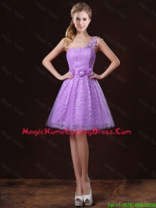 Elegant One Shoulder Homecoming Dresses with Lace and Appliques