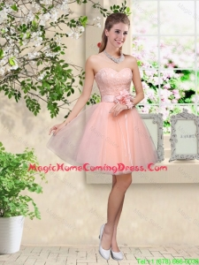 Elegant Sweetheart Baby Pink Homecoming Dresses with Appliques and Belt