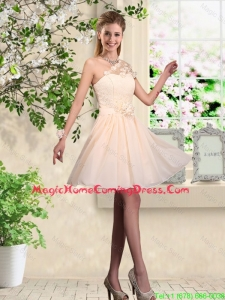 Lovely One Shoulder Homecoming Dresses with Hand Made Flowers