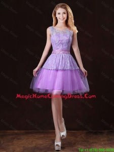 Luxurious Scoop Homecoming Dresses with Appliques and Belt