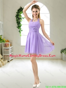 Modest Halter Top Hand Made Flowers Homecoming Dresses in Purple