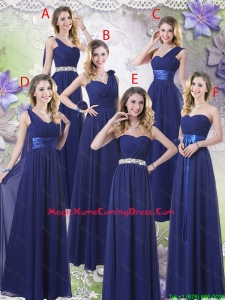 New Style Empire Floor Length Homecoming Dresses in Navy Blue