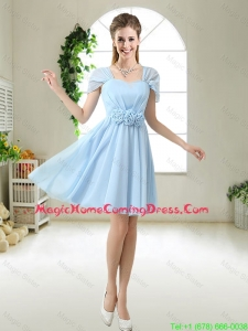 Pretty Hand Made Flowers Homecoming Dresses with Cap Sleeves