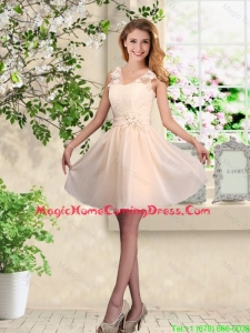 Suitable V Neck Appliques Homecoming Dresses in Champagne