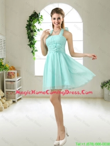 Wonderful Hand Made Flowers Homecoming maid Dresses in Apple Green