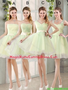 Custom Made Mini Length Homecoming Dresses in Yellow Green