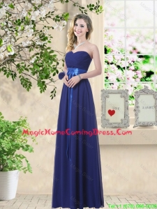 Discount Sweetheart Floor Length Homecoming Dresses with Sash