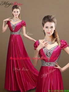 Pretty Empire V Neck Beading Homecoming Dresses with Short Sleeves