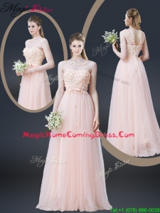 2016 Lovely Empire Bateau Homecoming Dresses with Appliques and Bowknot