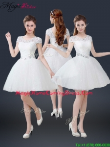 2016 Luxurious Mini Length Short Sleeves Beading Homecoming Dresses