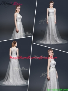 Elegant Empire Bateau Homecoming Dresses with Brush Train
