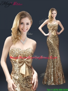 Fall Column Sequins 2016 Homecoming Dresses with Bowknot in Gold