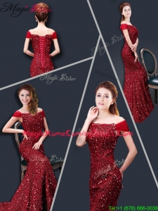 Winter Mermaid Off the Shoulder Sequins 2016 Homecoming Dresses in Wine Red
