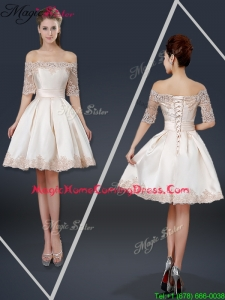 New Arrivals Off the Shoulder Appliques Champagne Short 2016 Homecoming Dresses