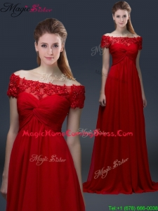 Simple Off the Shoulder Short Sleeves Red 2016 Homecoming Dresses with Appliques