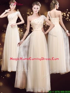 Elegant One Shoulder 2016 Homecoming Dresses with Appliques and Beading