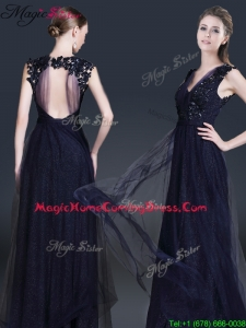 Fashionable V Neck Paillette 2016 Homecoming Dresses in Navy Blue
