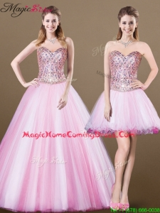 Lovely A Line Sweetheart Beading Detachable Homecoming Dresses for 2016