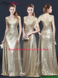 Perfect V Neck Sequins 2016 Homecoming Dresses in Champagne