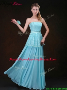 Affordable Strapless Floor Length Homecoming Dresses in Aqua Blue