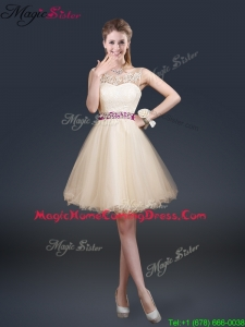 Beautiful Scoop Homecoming Dresses with Appliques and Belt
