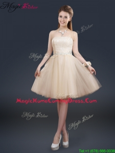 Fashionable Strapless Lace Champagne Homecoming Dresses