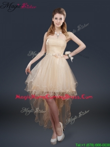 Pretty 2016 High Low Homecoming Dresses with Belt for Fall