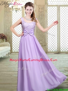 Pretty Scoop Bowknot Lavender Homecoming Dresses for Fall