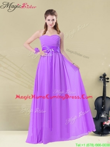 Romantic Empire Sweetheart Ruching and Belt Homecoming Dresses