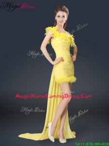 Sweet One Shoulder Watteau Train Homecoming Dresses in Yellow