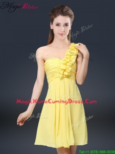 Sweet Short One Shoulder Ruching Homecoming Dresses