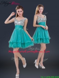 Sweet Short Straps Paillette Homecoming Dresses for 2016