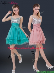 Wonderful Short Straps Paillette Homecoming Dresses for Summer