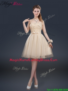 Cheap Strapless Homecoming Dresses with Appliques and Belt