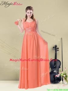 Fall Lovely Straps Floor Length Homecoming Dresses with Ruching and Belt