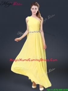 Fashionable One Shoulder Homecoming Dresses in Yellow