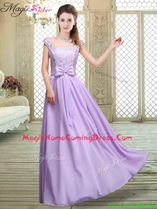 Fashionable Square Cap Sleeves Lavender Homecoming Dresses with Belt