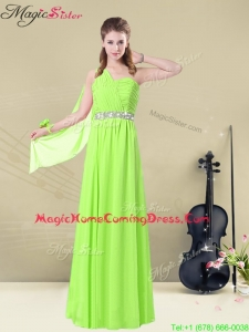 Latest Floor Length One Shoulder Ruching Homecoming Dresses for Summer