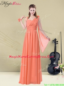 Low price Empire Straps Homecoming Dresses with Ruching and Belt