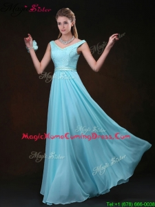Low price Empire V Neck Homecoming Dresses with Belt and Lace