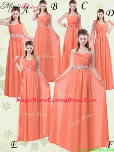 Simple Empire Floor Length Homecoming Dresses with Ruching and Belt