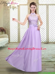 Sweet High Neck Lace Lavender Homecoming Dresses