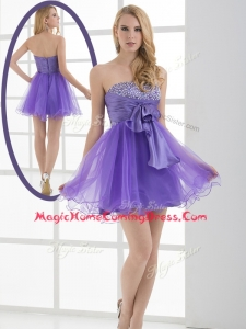 Beautiful Sweetheart Eggplant Purple Short Homecoming Dresses with Beading