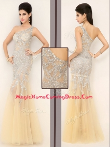 Gorgeous Mermaid One Shoulder Beading Homecoming Dresses in Champagne for 2016