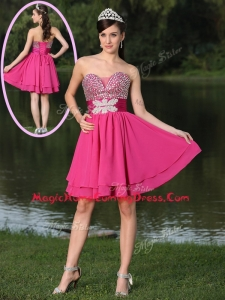 Inexpensive Short Sweetheart Beading Homecoming Dresses in Hot Pink