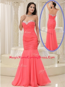 New Style Mermaid Sweetheart Coral Red Homecoming Dress