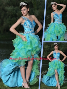 Pretty One Shoulder Side Zipper High Low Homecoming Dress in Multi Color
