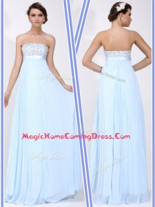 Beautiful Strapless Beading Long Homecoming Dress in Light Blue
