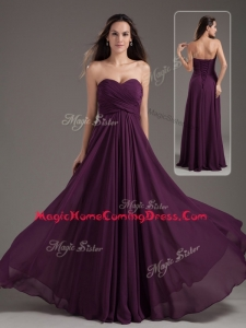 Cheap Empire Sweetheart Ruching Homecoming Dress in Purple